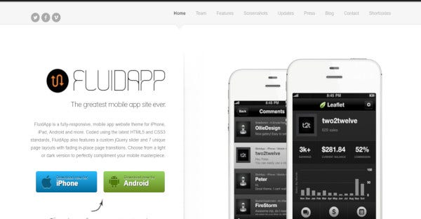 FluidApp- Custom shortcode WordPress Theme