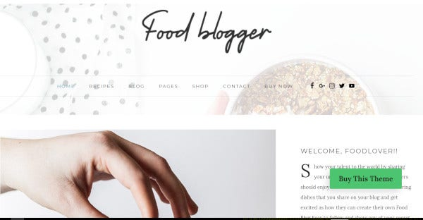 Food Blogger – bbPress Integrated WordPress Theme