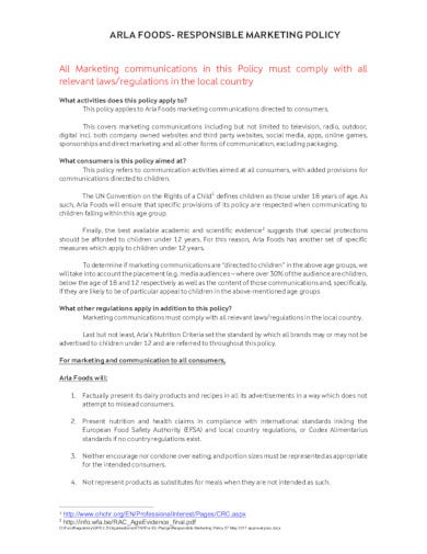 food marketing policy template