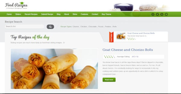 Food Recipes – Bootstrap WordPress Theme