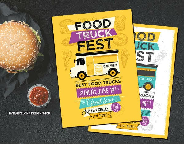 food truck menu poster template
