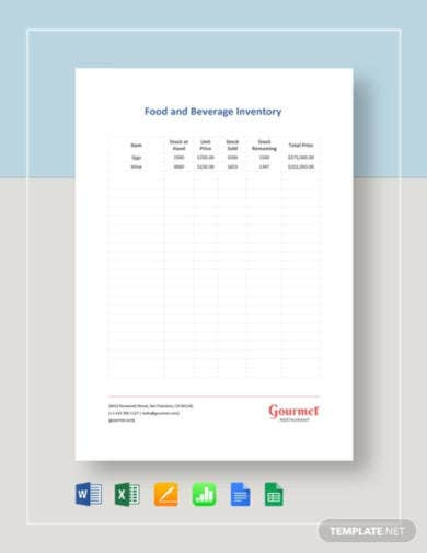 food and beverage inventory template