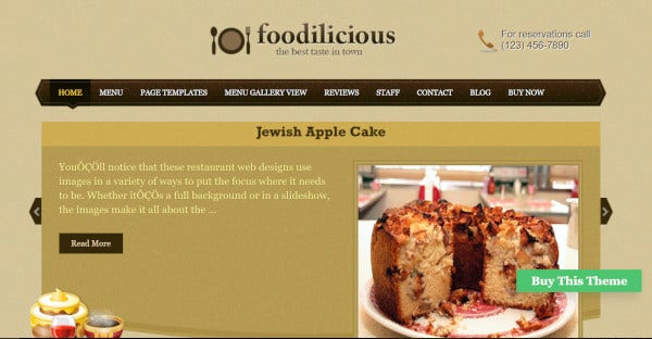 Foodilicious – Customized WordPress Theme