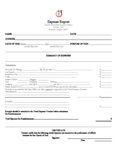formal church expense report template