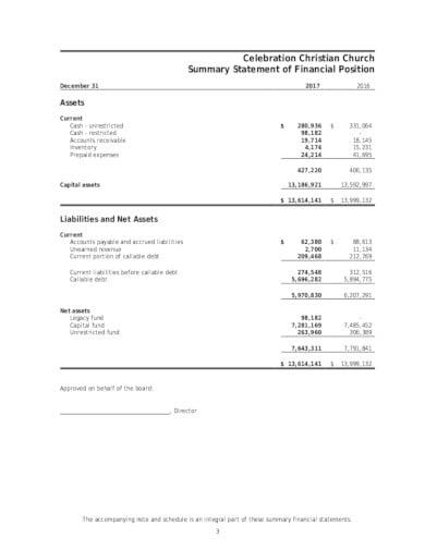 formal church financial statement template