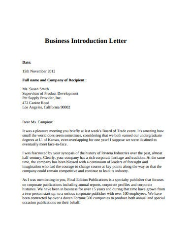 formal company introduction letter template