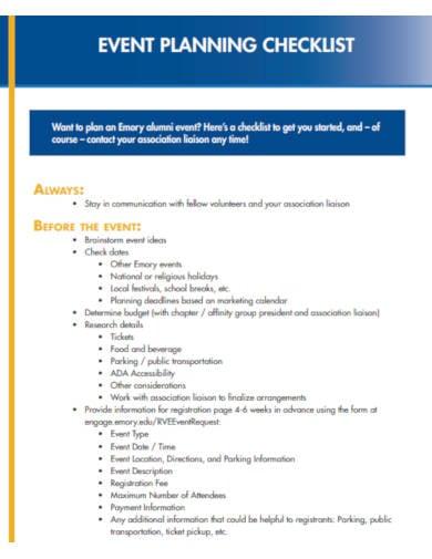formal event planning checklist