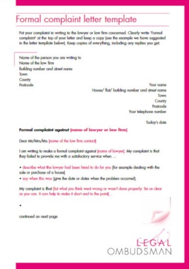formal legal complaint letter template1