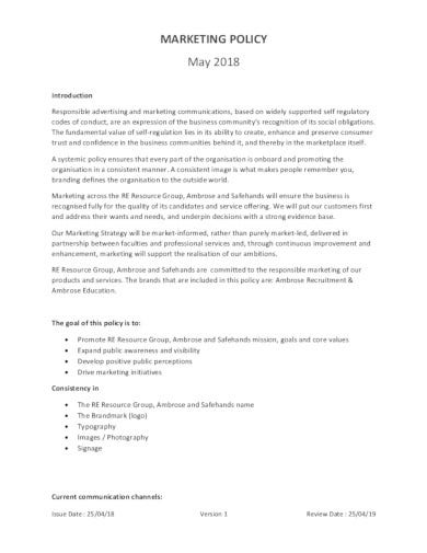 formal marketing policy template