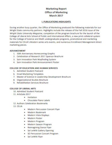 formal marketing report template