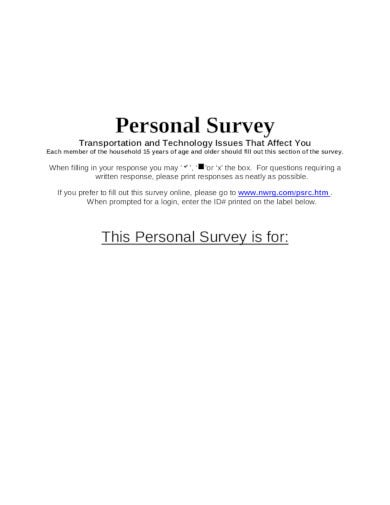 formal personal survey template