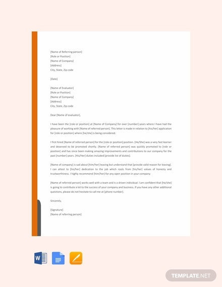 formal reference letter example