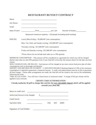 formal restaurant contract template