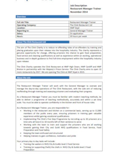 formal restaurant job description template