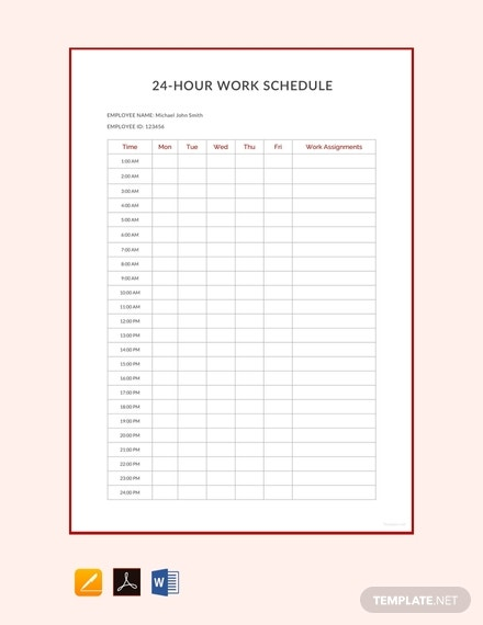 free 24 hour work schedule template 440x570 1