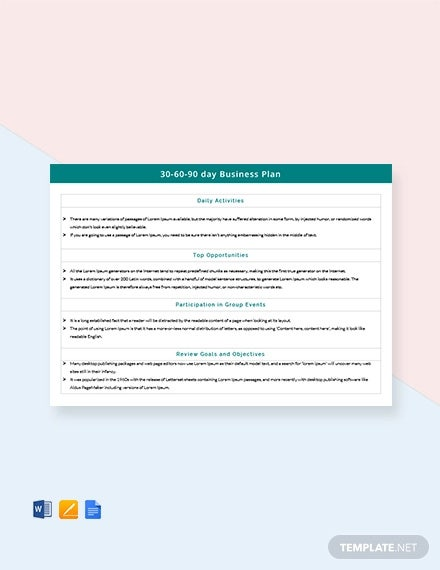 free 30 60 90 day business plan template
