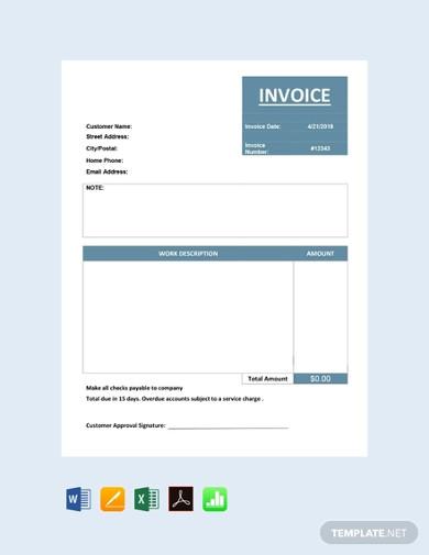 free basic service invoice template
