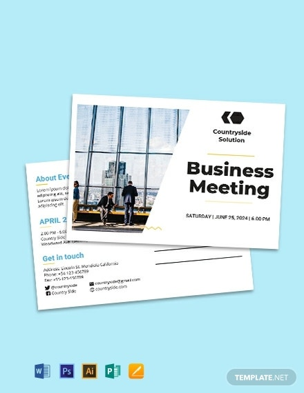 free business event postcard template