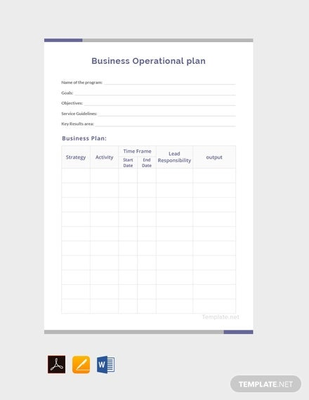 free business operational plan template