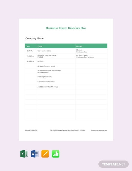 free business travel itinerary document template 440x570 1