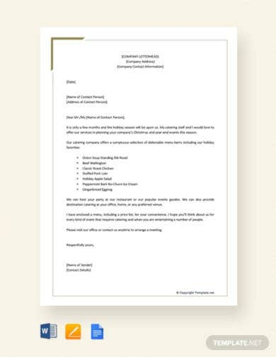 free catering company proposal letter