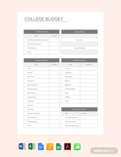 free college budget template