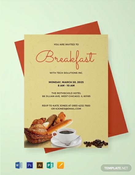 free company breakfast invitation template