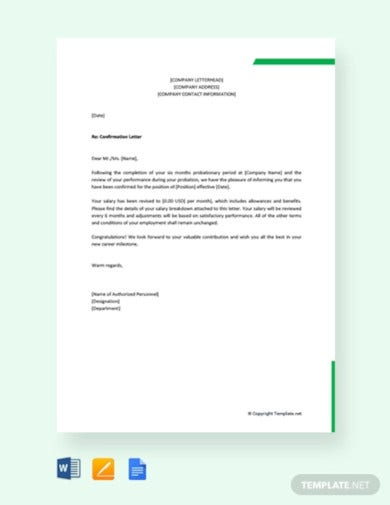 free company confirmation letter