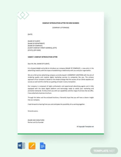 free company introduction letter for new business