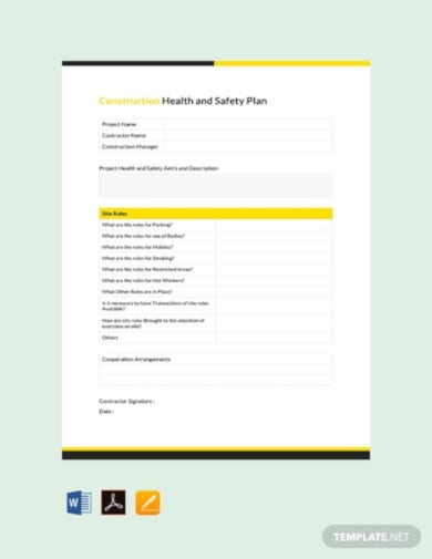 free construction health safety plan template