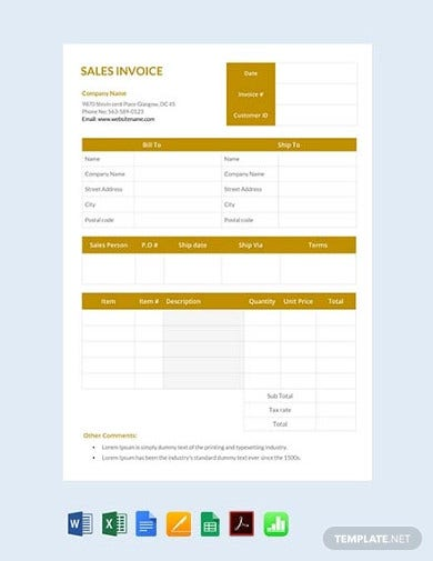 free corporate sales invoice template1