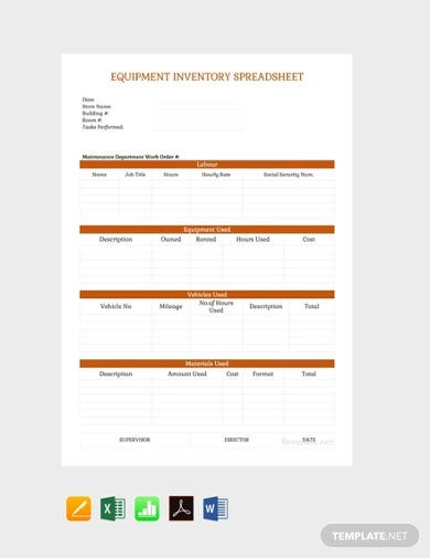 free equipment inventory spreadsheet template1