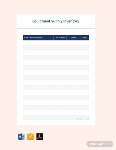 free equipment supply inventory template1