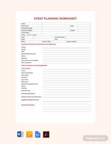 free event planning worksheet