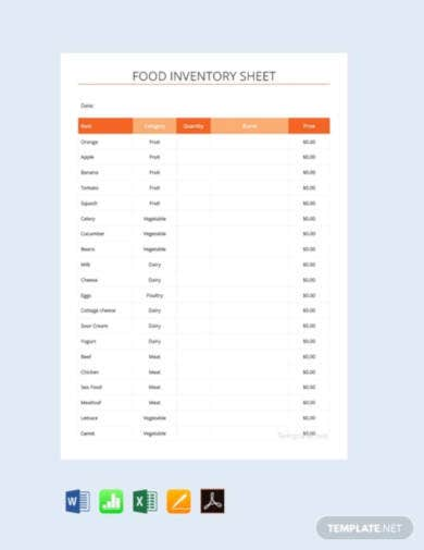 free food inventory spreadsheet