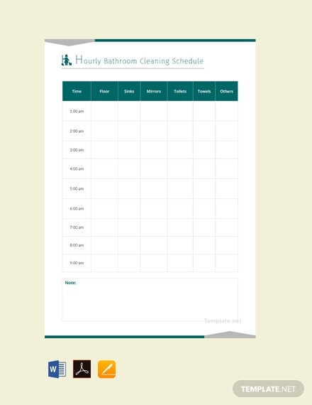 free hourly bathroom cleaning schedule template 440x570 1