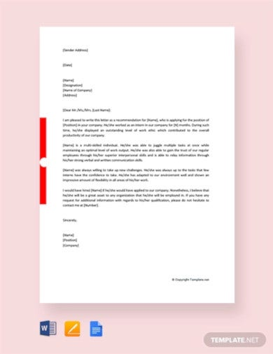 free internship reference letter from company