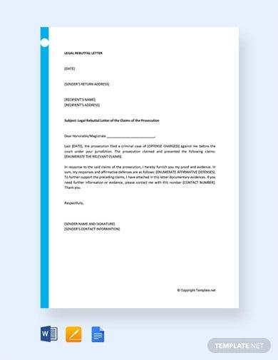 free legal rebuttal letter