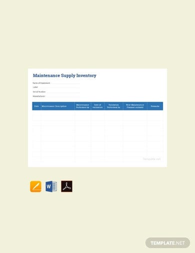 free maintenance supply inventory template
