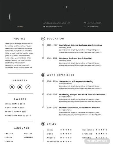 free marketing resume example