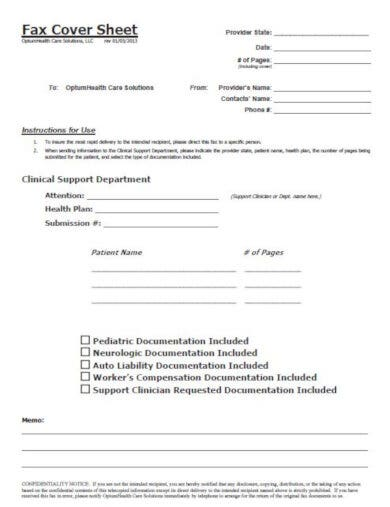 free medical fax cover sheet