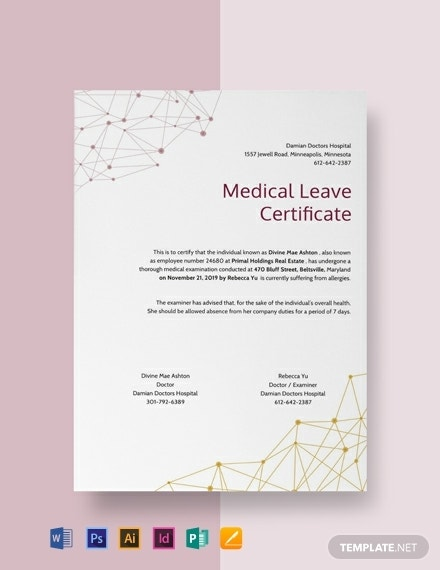free medical leave certificate template