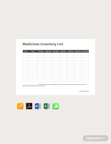 free medicine inventory template
