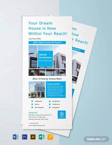 free modern real estate rack card template