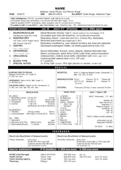 free ongoing medical summary report