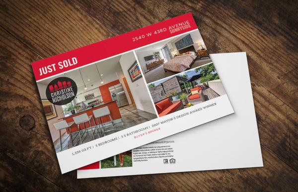 free real estate just sold postcard