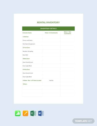 free rental inventory template