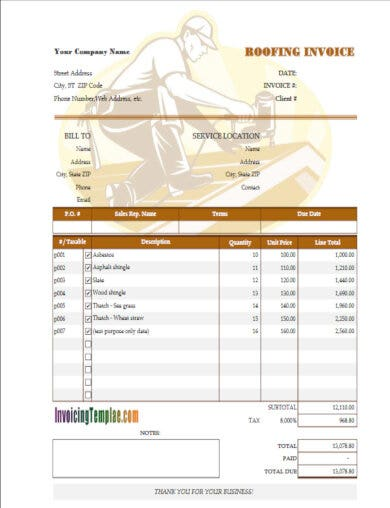 free roof construction invoice template