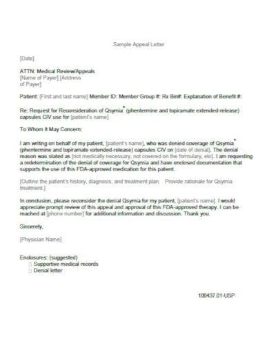 free sample medical appeal letter