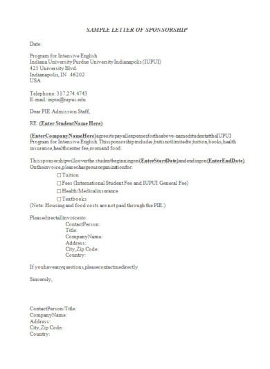free sample sponsorship invoice letterhead